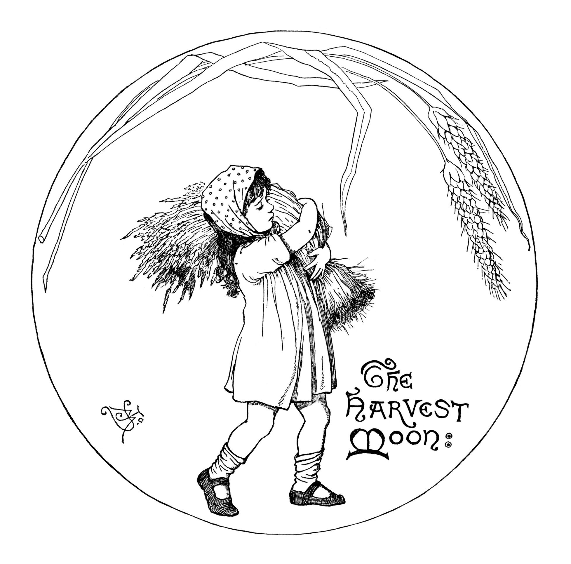 fall clipart black and white vintage