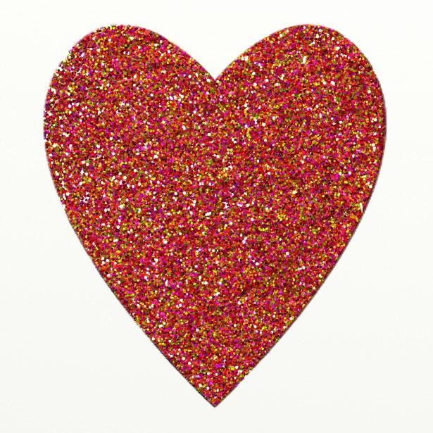 Rainbow glitter heart.