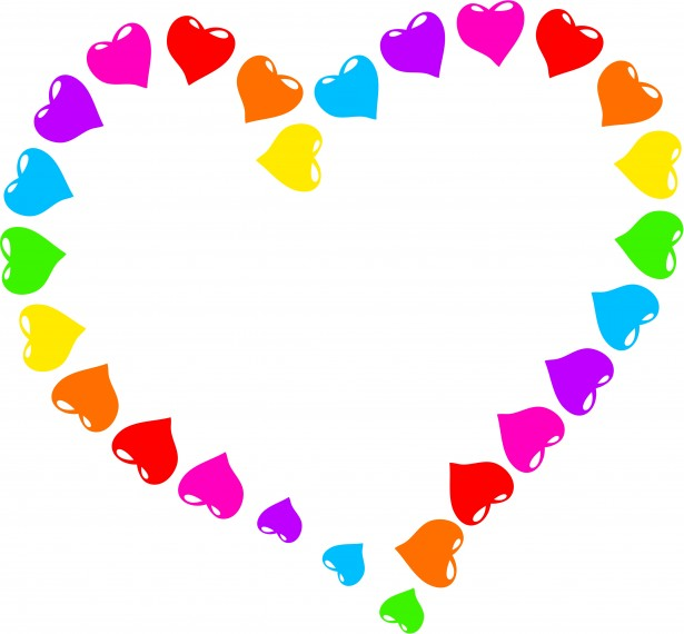 Rainbow heart clipart.