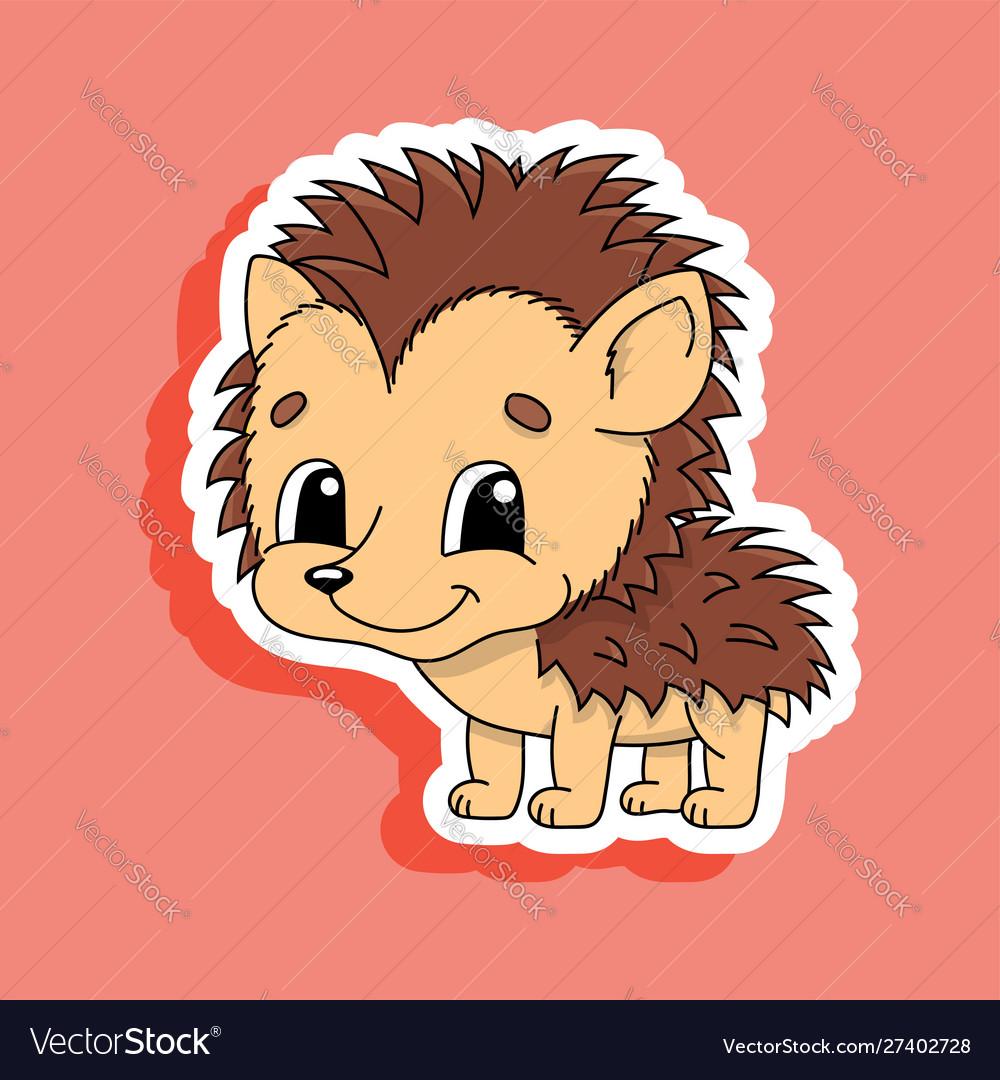 Brown hedgehog cute character colorful cartoon