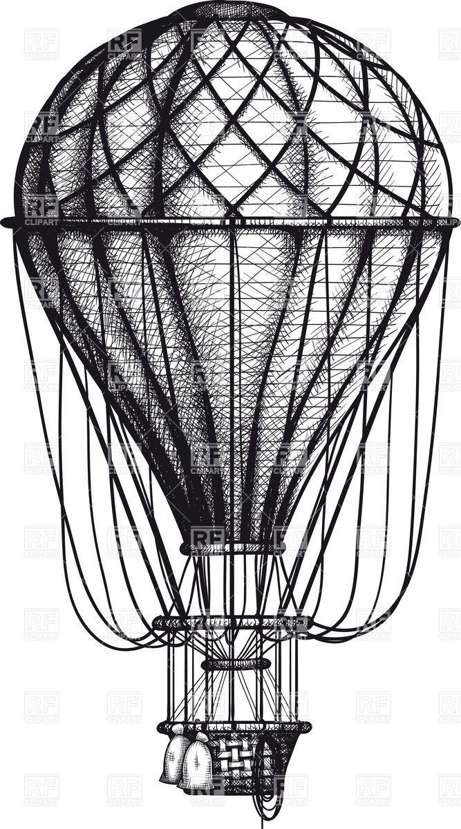 Vintage hand drawn engraving air balloon Stock Vector Image