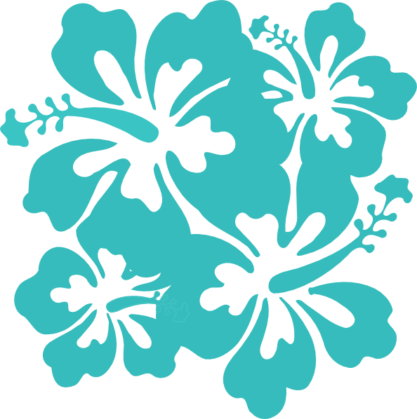 Teal Hibiscus Clipart