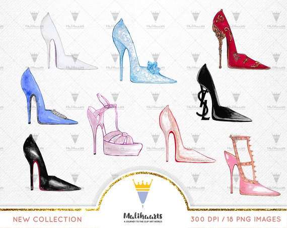 High heel shoes clipart, Diamond, gold, red shoe clip art