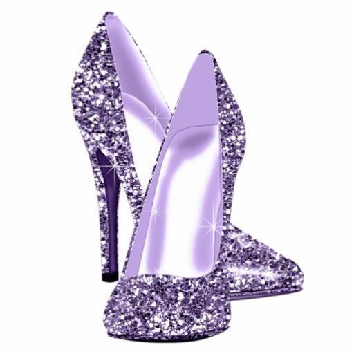 Silver high heel.