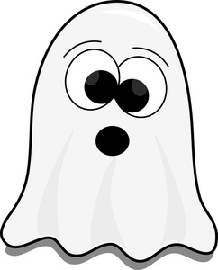 Cute little cartoon ghost on Halloween trying to scare