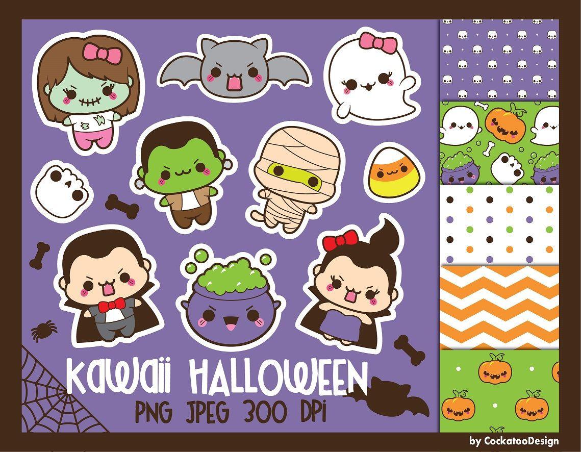Halloween clipart, kawaii halloween clip art, kawaii