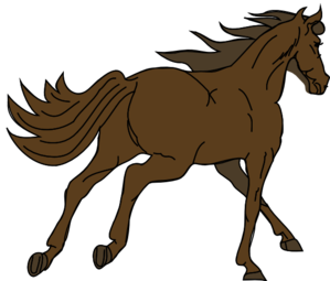 Running brown horse.