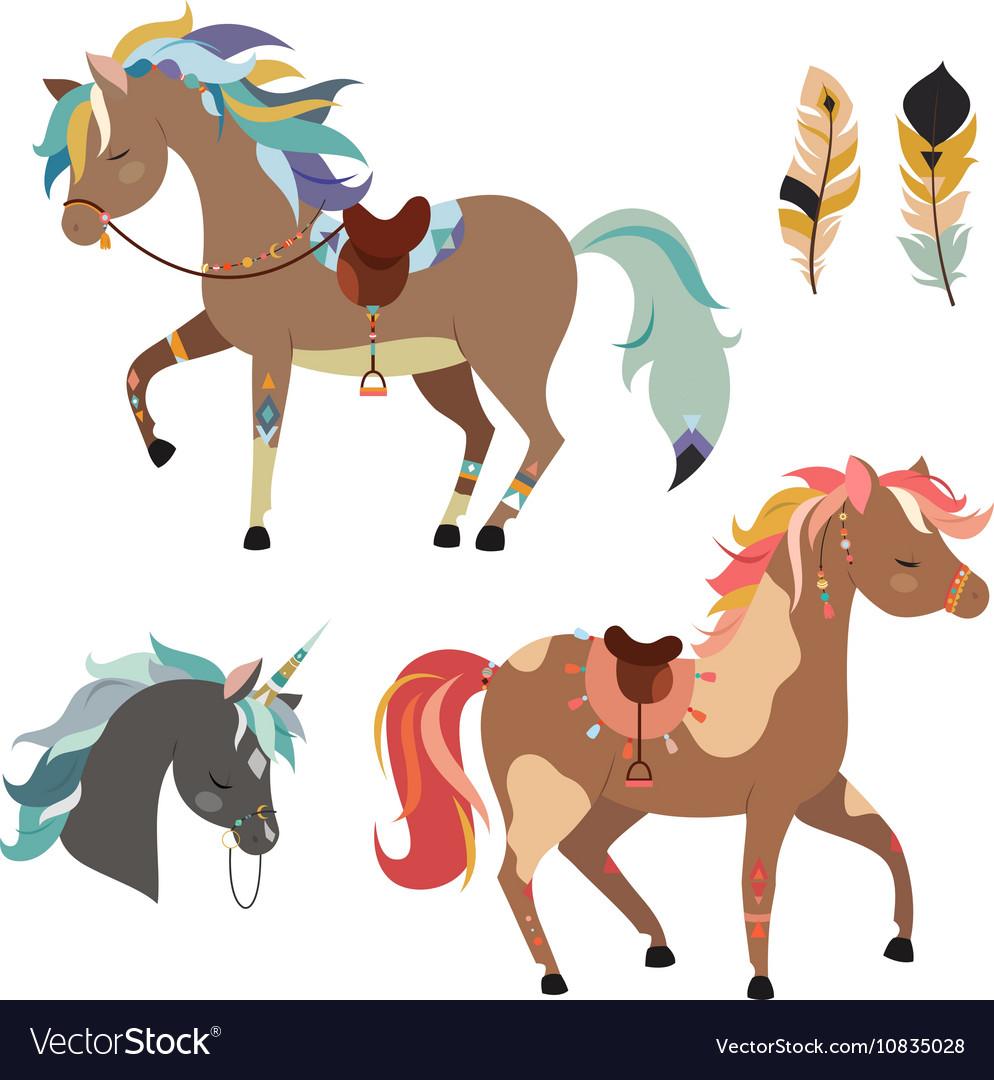 Tribal horses clipart.