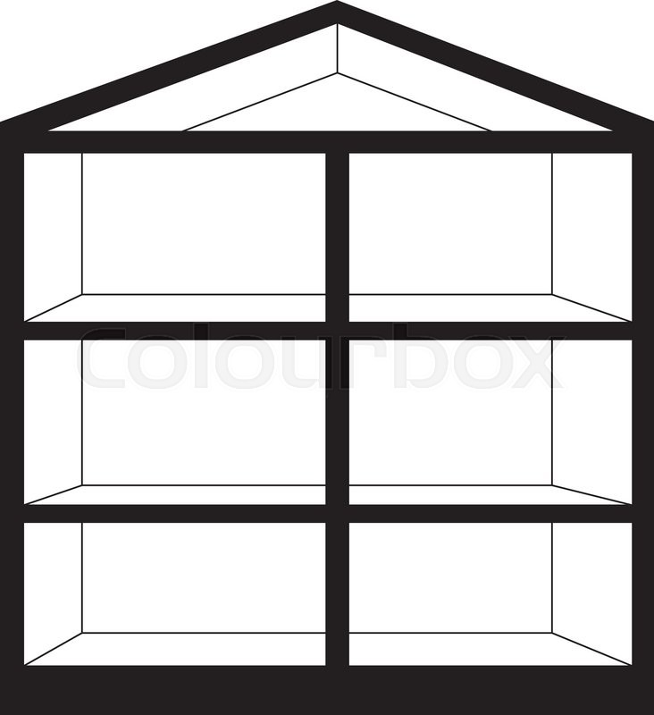 Vector illustration of empty house in