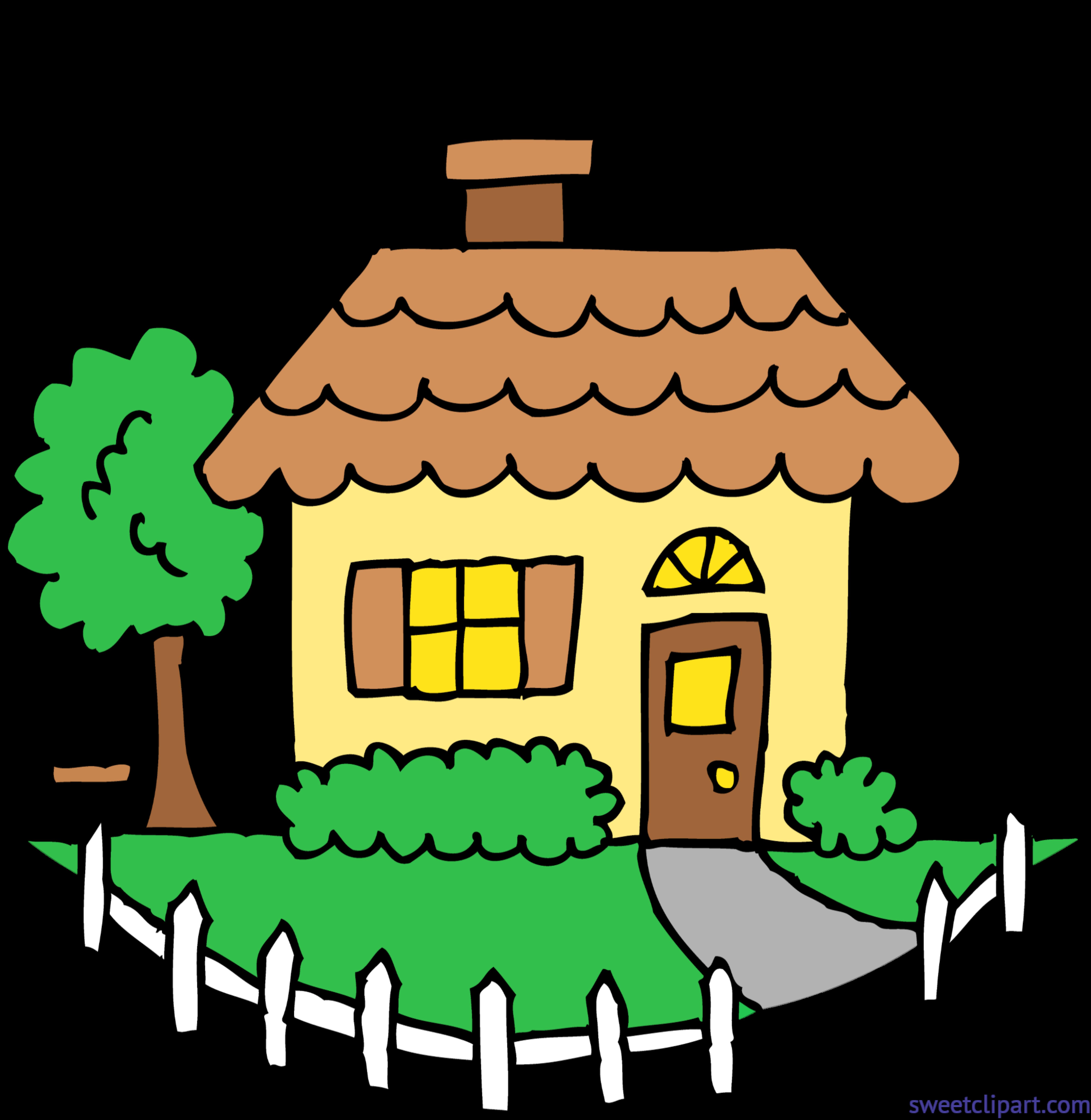Cute Yellow House Clip Art