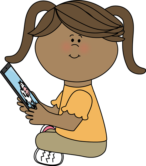 Girl reading ipad.