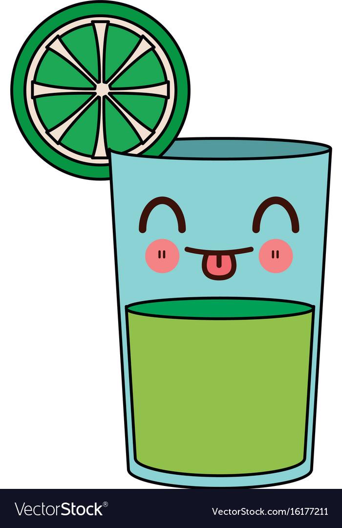 Kawaii lemon juice in a glass tropical cartoon