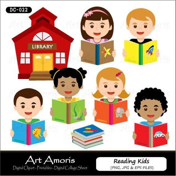 Reading kids clipart.