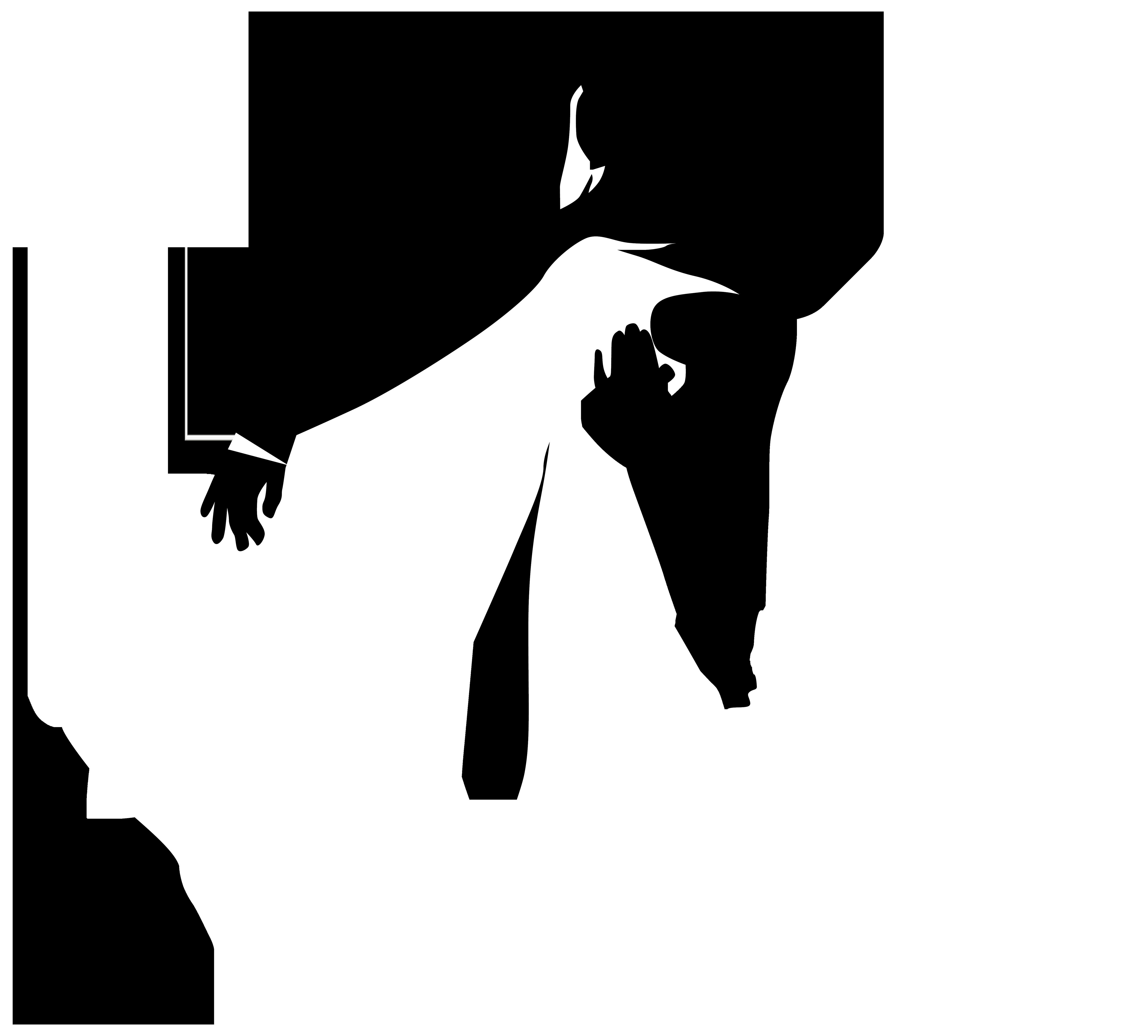 Kissing bridal silhouettes.