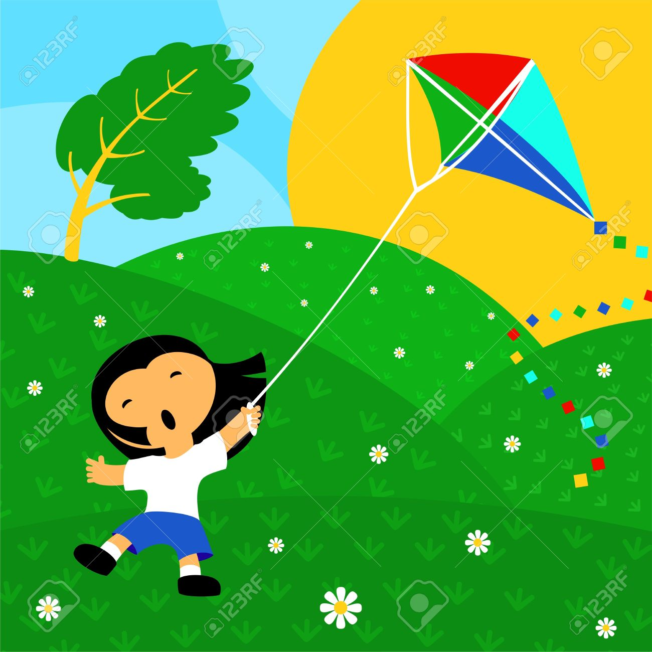 kite clipart windy day