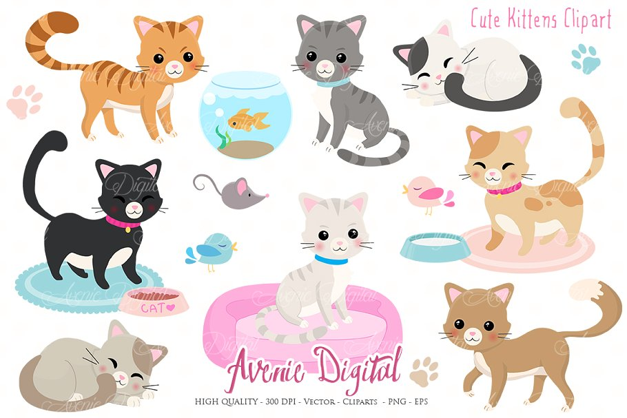 Cute Kittens Clipart
