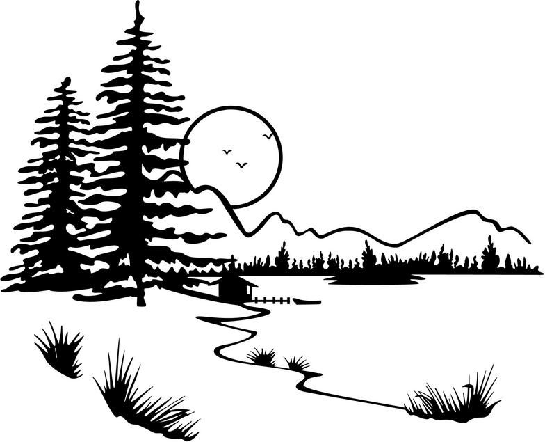 Forest clipart black and white illustration. Lake clip art displaying