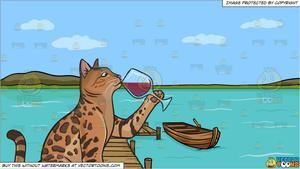 Cat drinking wine.