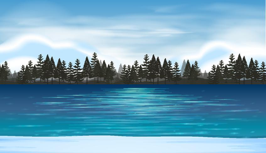 Lake scene with.