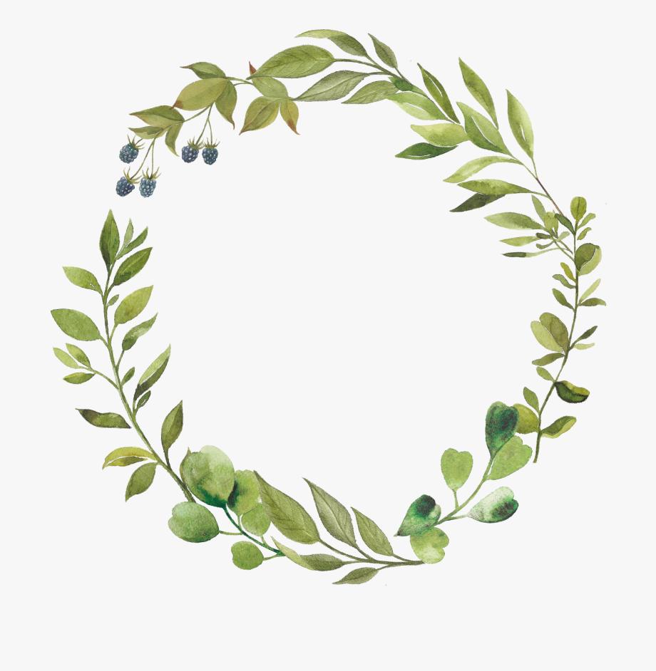 Green Leaves Wreath Clipart Greenery Circle Botanical