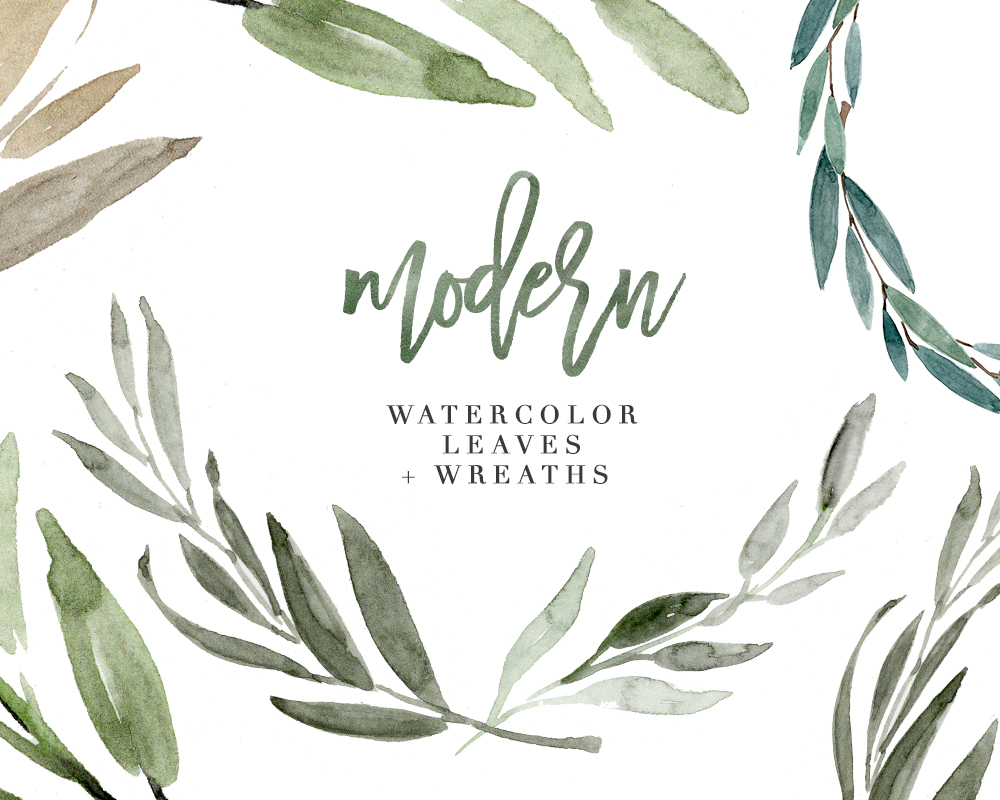 Modern watercolor leaves.