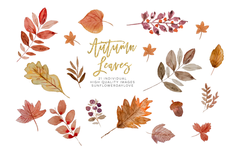 Watercolor autumn leaves ClipArt wreath