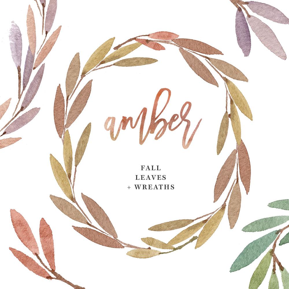 Watercolor Wreath Clip Art, Fall Leaves, Autumn Wreath Clipart