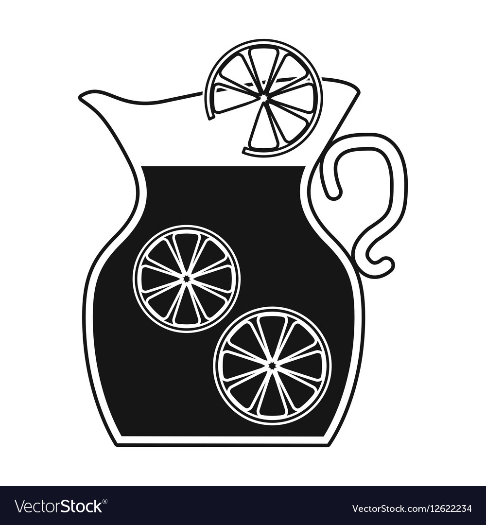 Jug of lemonade icon in black style isolated on