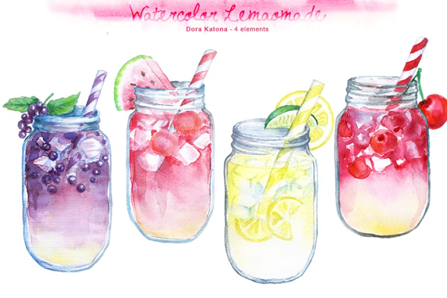 Watercolor lemonade clipart.