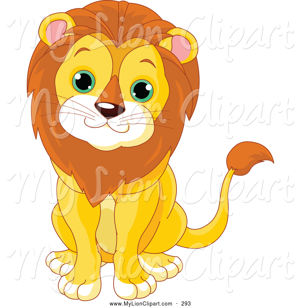 Lion clipart male. Of a cheerful cute