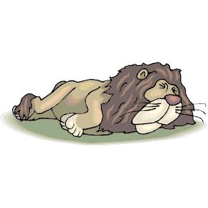 Lion sleeping clipart.