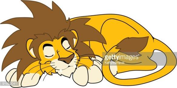 Sleeping lion clipart.