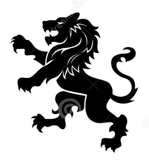 Stylized Lion, Standing, for Coat of Arms or Heraldic Logo