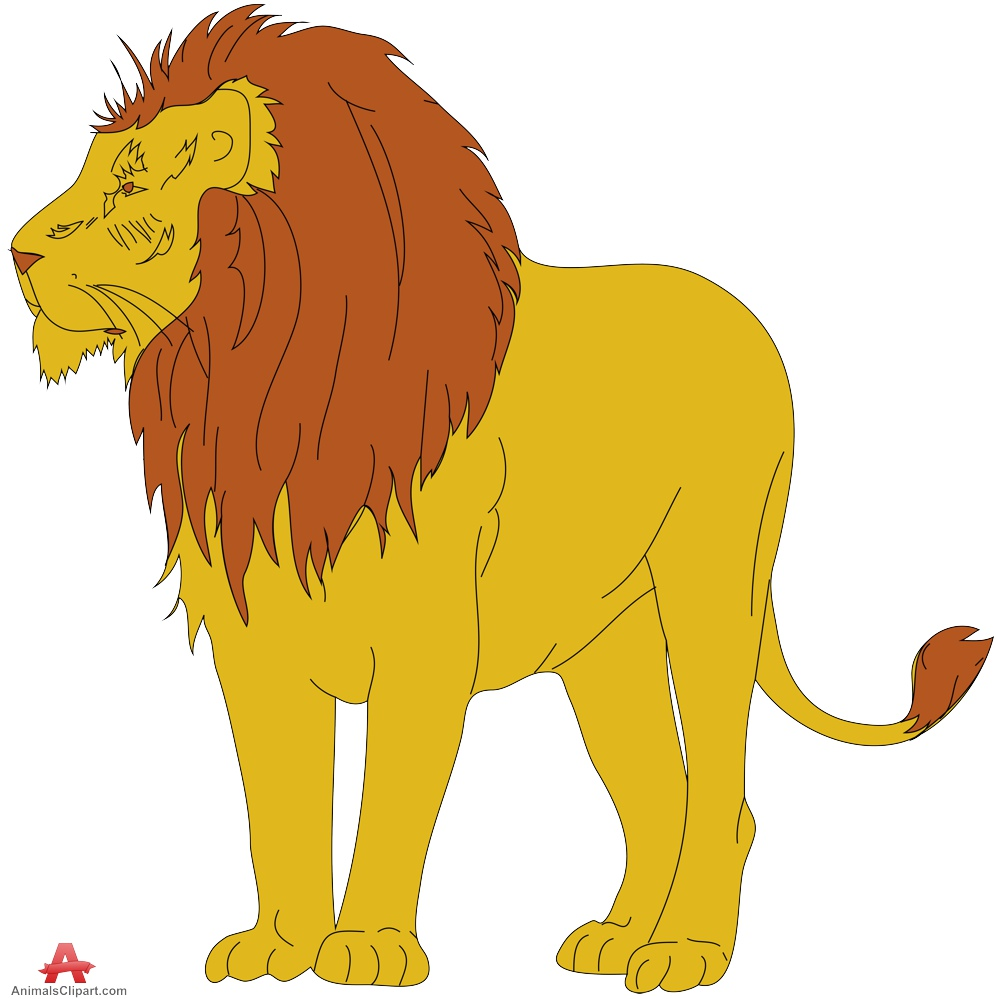 Standing lion clipart.