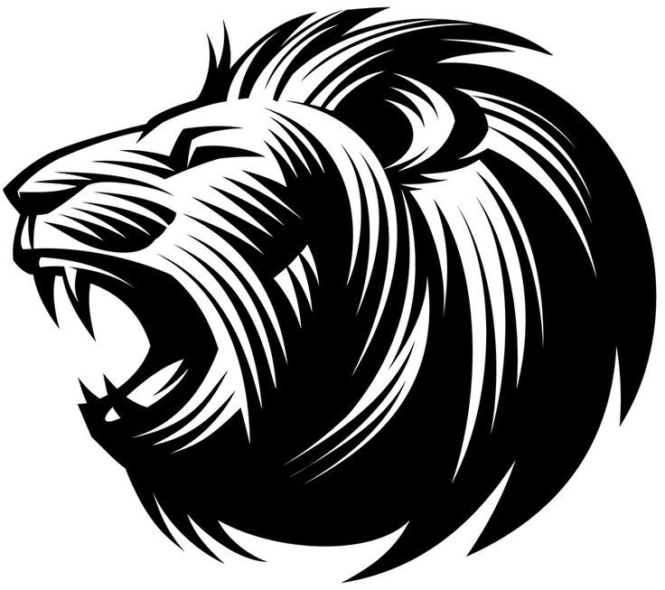 Roaring lion silhouette.