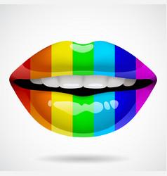 Rainbow lips vector.