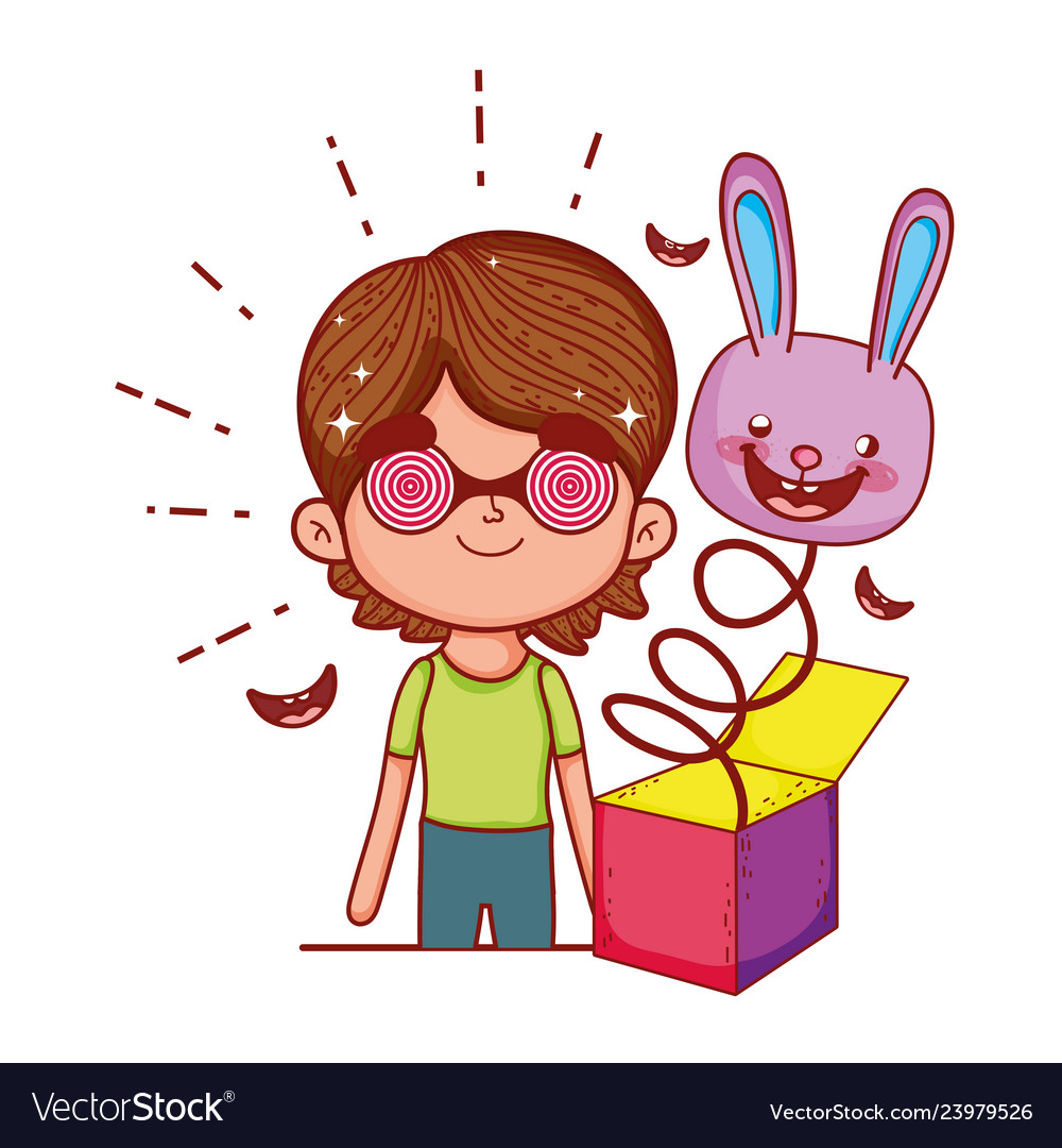 Little boy with fools day surprise box and rabbit