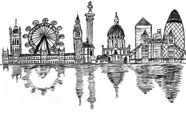 Sketches london skyline.