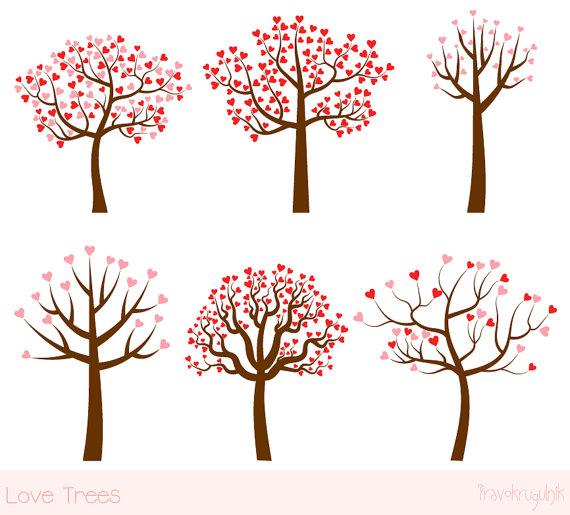 Love tree clipart set, Wedding tree clip art, Valentine tree