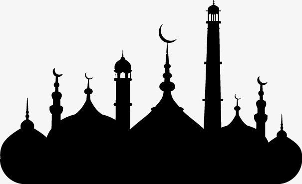 Islamic Mosque Silhouette Vector Material, Islam, Mosque