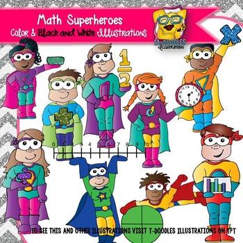 Math superheroes clipart.