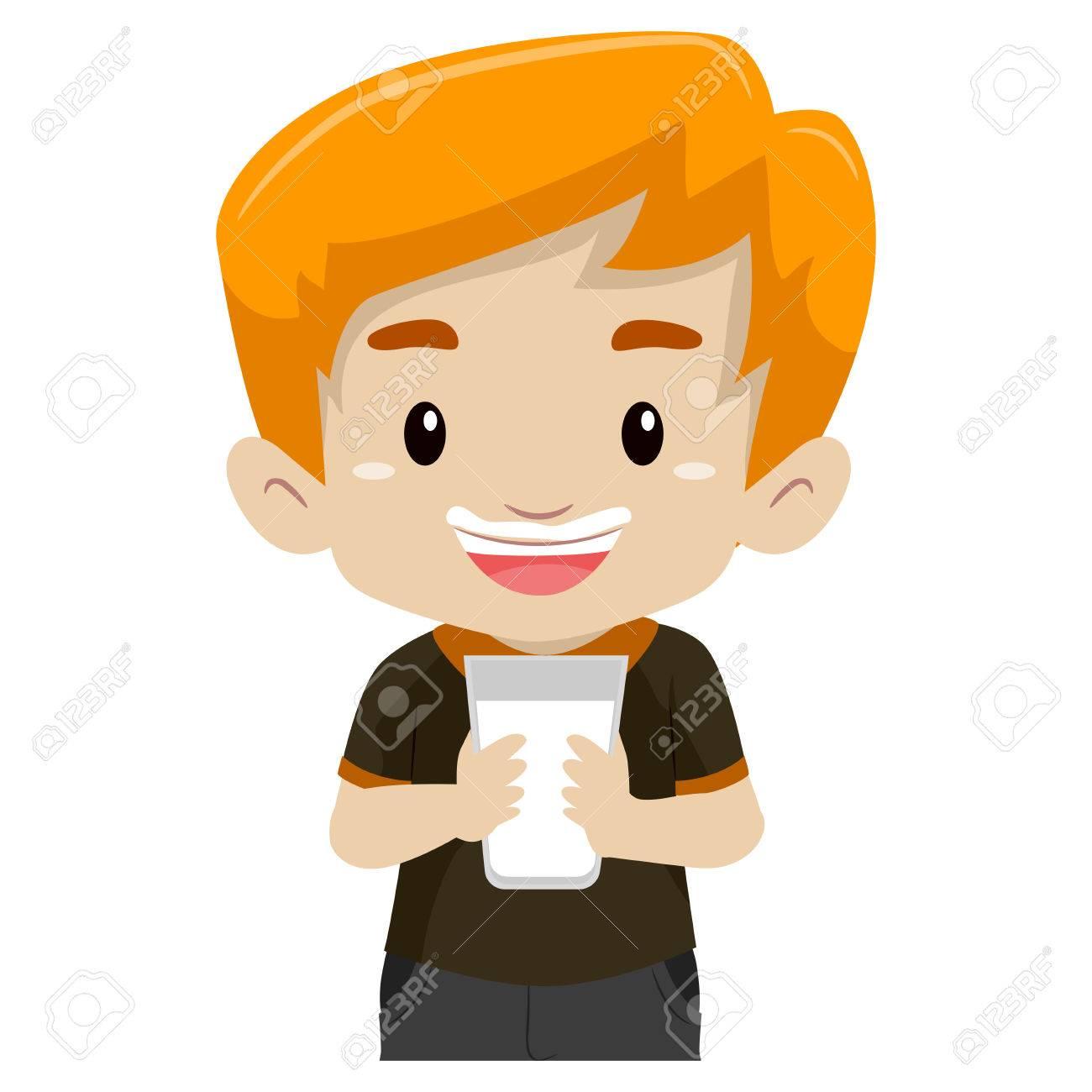 Boy drinking milk.