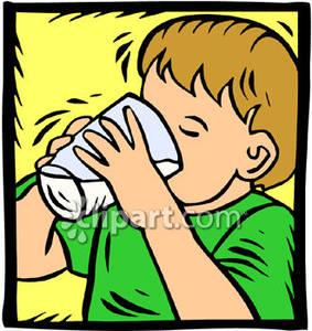 Little boy drinking.