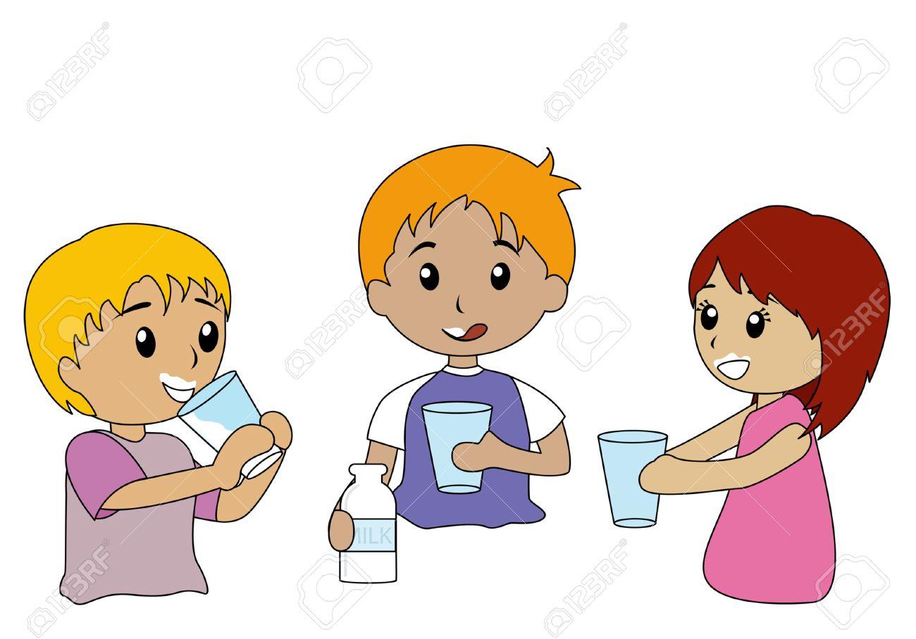 Kid drinking milk.