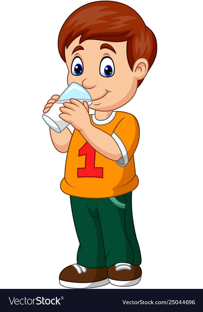Cartoon boy drinking.
