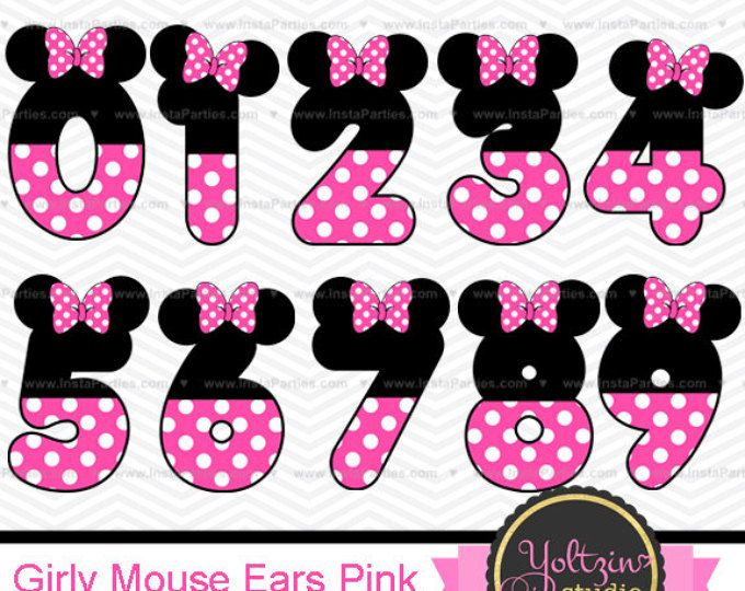 Mickey Mouse Clipart Numbers clip art digital PNG images