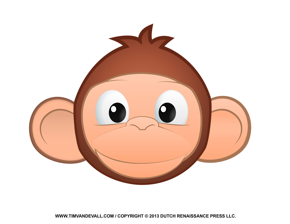 Printable monkey clipart.