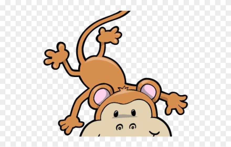 Cartoon monkey hanging.