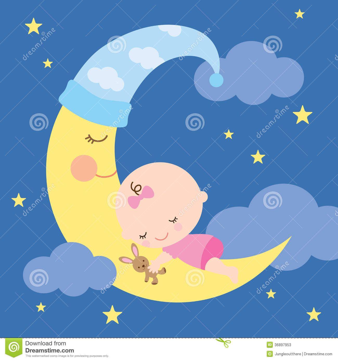 Baby sleeping moon.