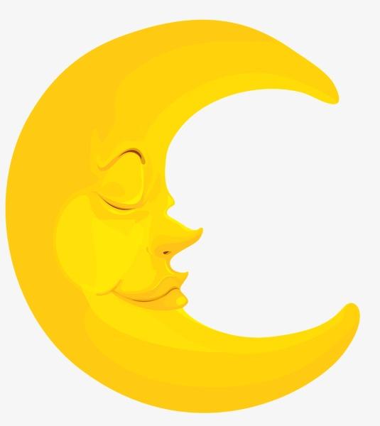 Cartoon sleeping moon.